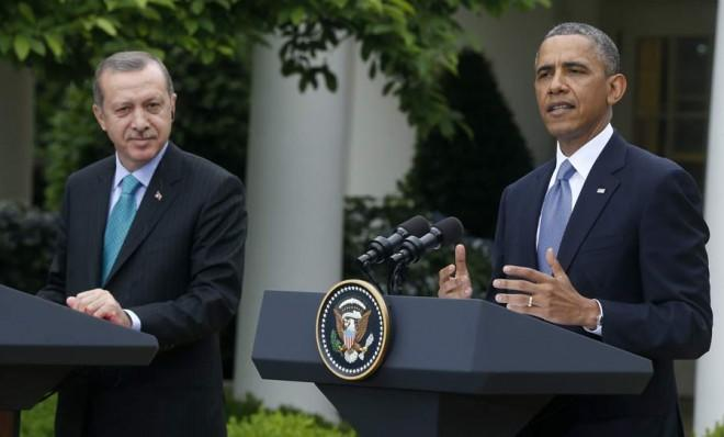 Turkish Prime Minister Recep Tayyip Erdogan and President Obama at a press conference on Thursday.