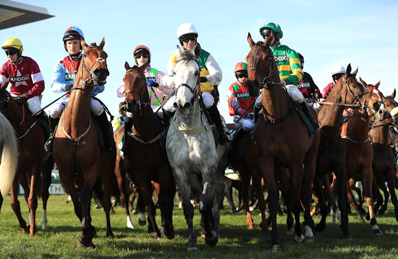 Runners and riders during the Randox Health Grand National Handicap Chase (Photo by Mike Egerton/PA Images via Getty Images)