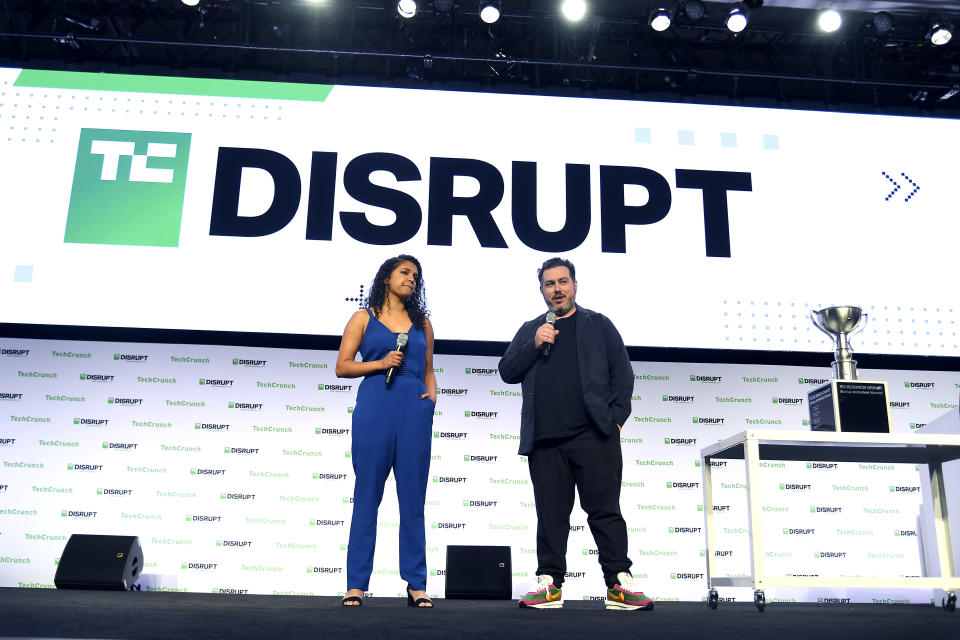 SAN FRANCISCO, CALIFORNIA - OCTOBER 04: (L-R) TechCrunch Startup Program Manager Neesha Tambe and TechCrunch Editor-In-Chief Matthew Panzarino speak onstage during TechCrunch Disrupt San Francisco 2019 at Moscone Convention Center on October 04, 2019 in San Francisco, California. (Photo by Steve Jennings/Getty Images for TechCrunch)