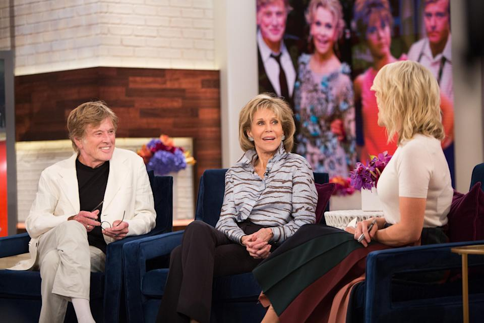 Megyn Kelly and Jane Fonda (pictured with Fonda's co-star Robert Redford) had an awkward exchange about plastic surgery on the Sept. 27, 2017 episode of the since-canceled <em>Megyn Kelly Today</em>. (Photo: Nathan Congleton/NBCU Photo Bank/NBCUniversal via Getty Images via Getty Images)