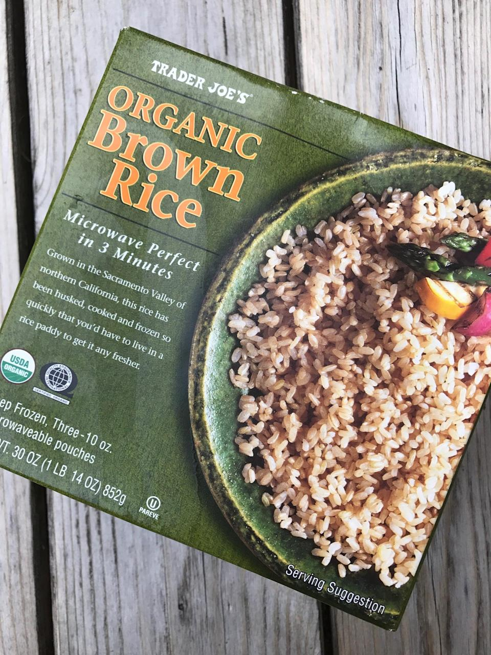 <p>While I always try to batch cook brown rice on Sunday, if I don't have time, this is great to have in the freezer in a pinch! Simply throw a bag in the microwave, and it's ready to enjoy with steamed veggies, curry, or stir-fry.</p>