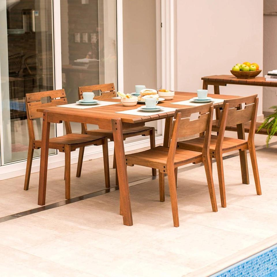 <p>How beautiful is the eucalyptus wood on the <span>Otero Eucalyptus Wood Outdoor Dining Set</span> ($2,330)?</p>