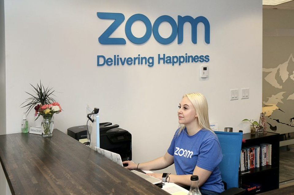 The front desk at Zoom headquarters.