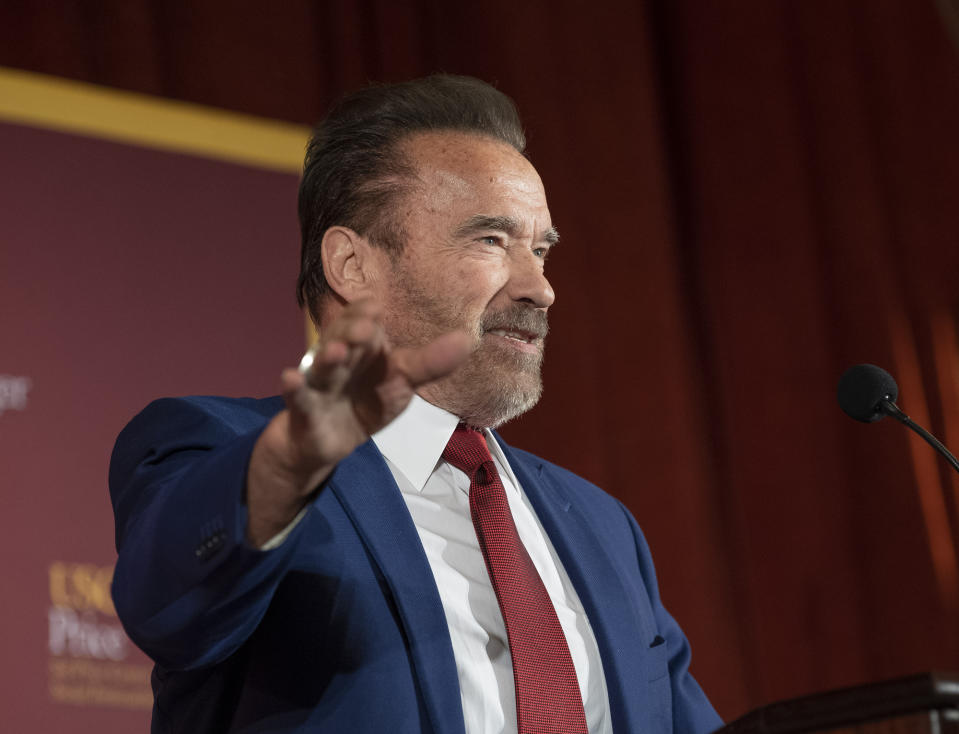 Los Angeles, CA  February 13: Former Gov. Arnold Schwarzenegger speaks without a doubt: Address to California at the University of Southern California in Los Angeles, CA on February 13, 2020.  The program was presented by the USC Schwarzenegger Institute.  USC Price Center for State and Global Policy and Social Innovation.  (Photo by Paul Bersbach / Media News Group / Orange County Register via Getty Images)