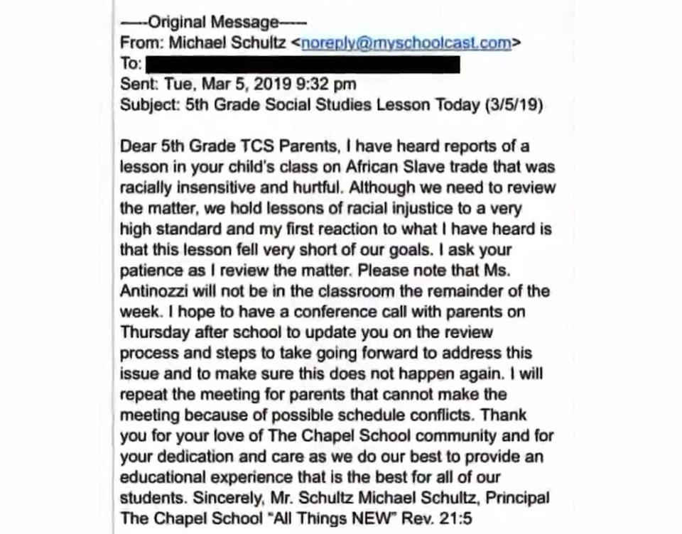 In a letter to parents, The Chapel School principal called the alleged lessons 'racially insensitive and hurtful'. Source: WPIX11