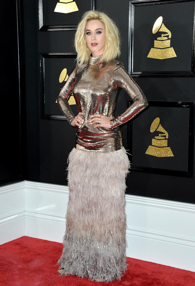 Katy Perry attends the 59th GRAMMY Awards at STAPLES Center on February 12, 2017 in Los Angeles, CA, USA.