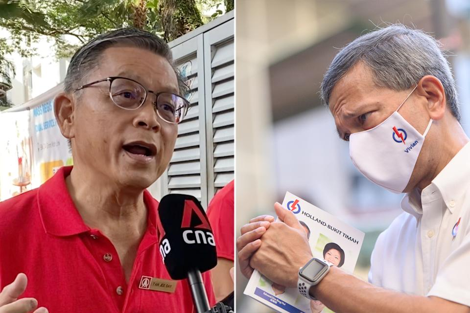 The SDP's team led by Tan Jee Say (left) is in a straight fight with the PAP team led by Dr Vivian Balakrishnan (right) for Holland-Bukit Timah GRC. (PHOTOS: Yahoo News Singapore)