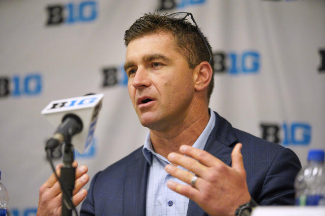 Michigan coach Erik Bakich speaks during a news conference, Tuesday, May 21, 2019, ahead of the Big Ten NCAA college baseball tournament, in Omaha, Neb..(AP Photo/Nati Harnik)