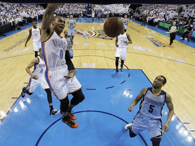Oklahoma City Thunder guard Russell Westbrook (0) dunks in front of Memphis Grizzlies guard Courtney Lee (5) in the second quarter of Game 5 of an opening-round NBA basketball playoff series in Oklahoma City, Tuesday, April 29, 2014. (AP Photo)