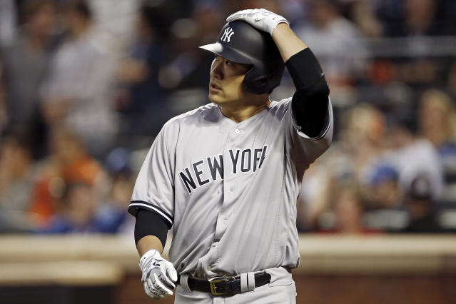 New York Yankees' Masahiro Tanaka reacts after scoring a run during the sixth inning of a baseball game against the New York Mets, Friday, June 8, 2018, in New York. (AP Photo/Adam Hunger)