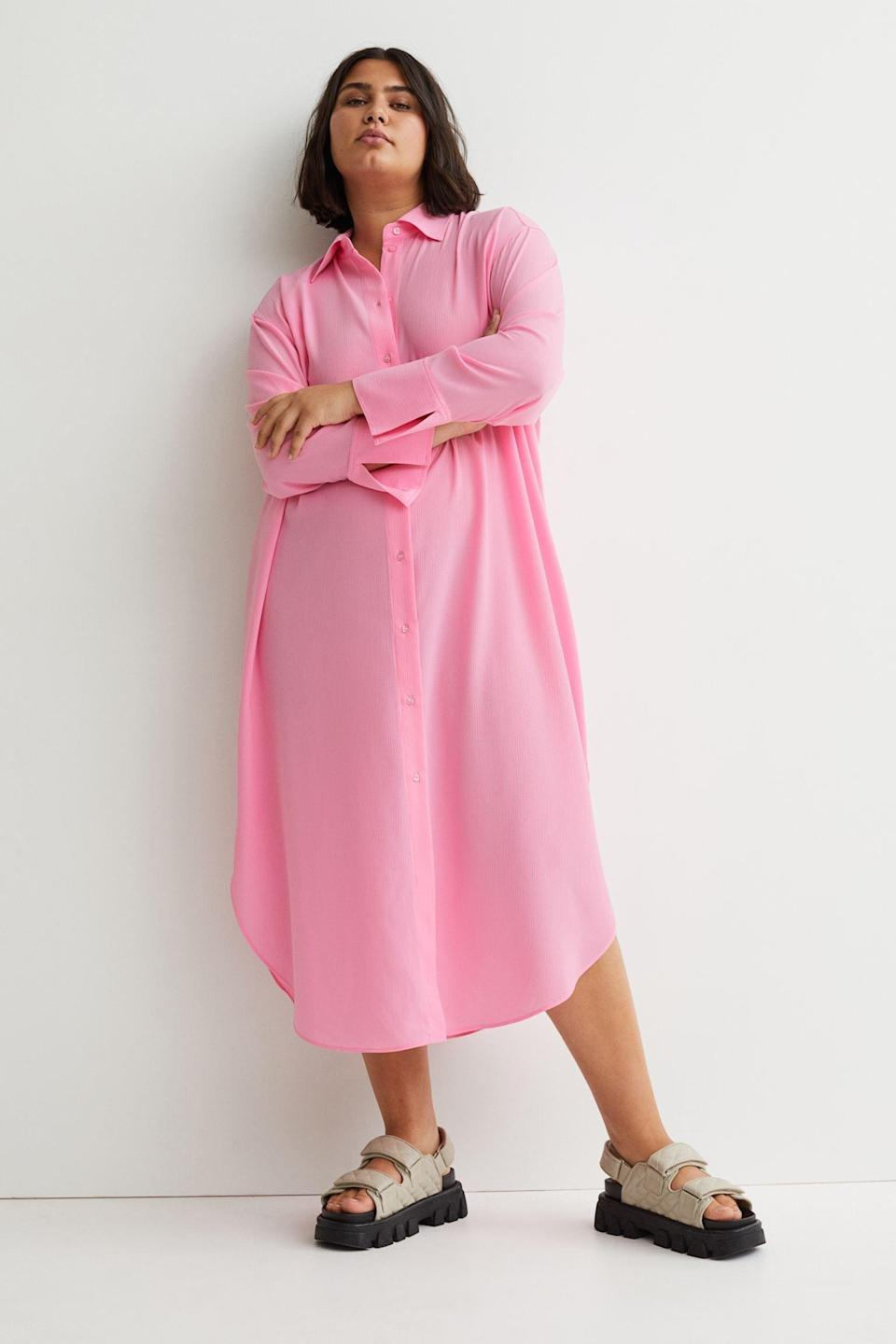<p>This <span>H&amp;M+ Shirt Dress</span> ($30) is the most comfortable yet put-together thing you'll slip on any day. It looks lightweight and easy to style. If you have to step out, just add some slides and a tote for a cool girl about town look.</p>