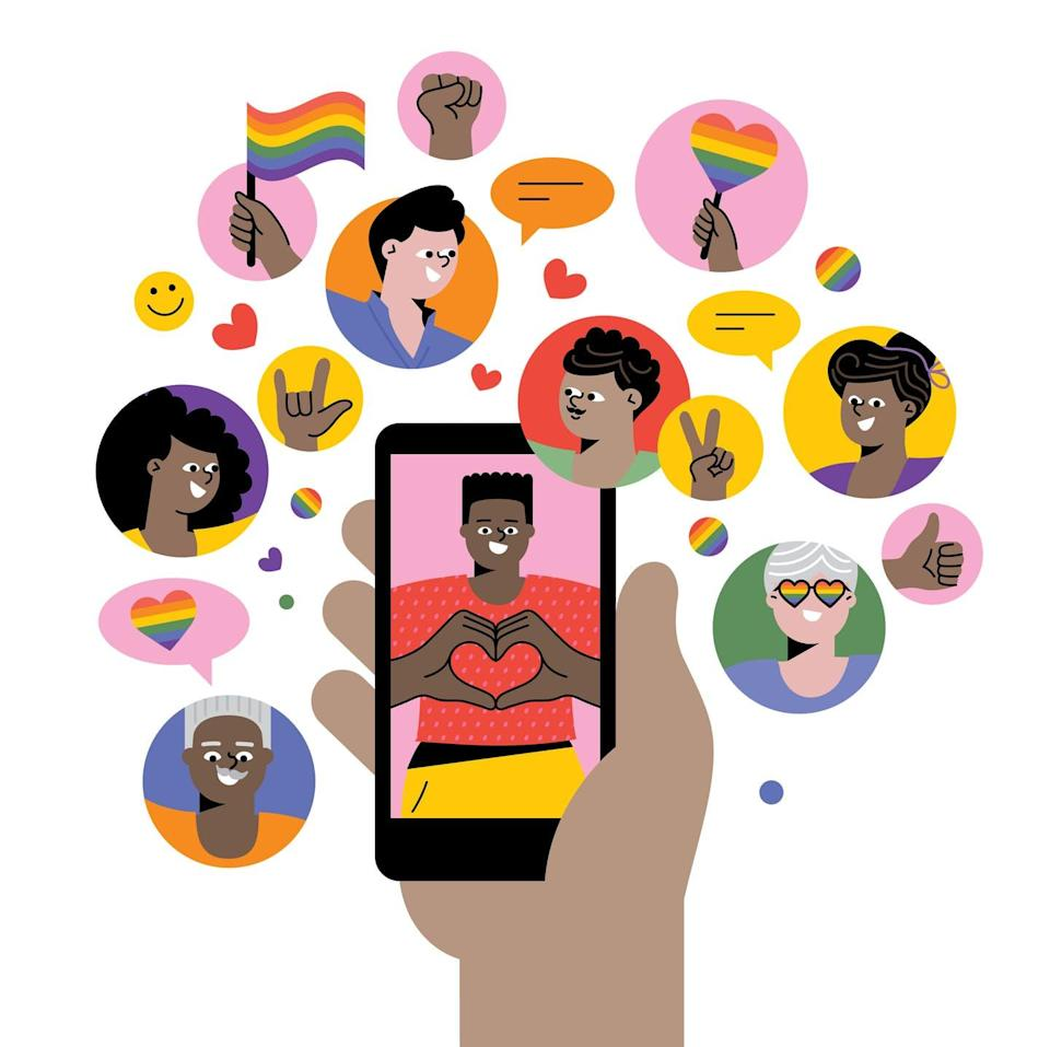 """<span class=""""caption"""">Social media can provide ways for LGBTQ youth to learn more about, and stay connected to, their identities.</span> <span class=""""attribution""""><a class=""""link rapid-noclick-resp"""" href=""""https://www.gettyimages.com/detail/illustration/celebrating-pride-on-social-media-royalty-free-illustration/1250449474"""" rel=""""nofollow noopener"""" target=""""_blank"""" data-ylk=""""slk:miakievy/DigitalVision Vectors via Getty Images"""">miakievy/DigitalVision Vectors via Getty Images</a></span>"""