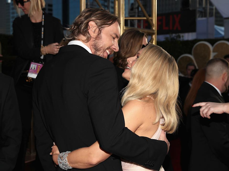 BEVERLY HILLS, CA - JANUARY 06:  76th ANNUAL GOLDEN GLOBE AWARDS -- Pictured: (l-r) Dax Shepard and Kristen Bell arrive to the 76th Annual Golden Globe Awards held at the Beverly Hilton Hotel on January 6, 2019. --  (Photo by Christopher Polk/NBCU Photo Bank/NBCUniversal via Getty Images)
