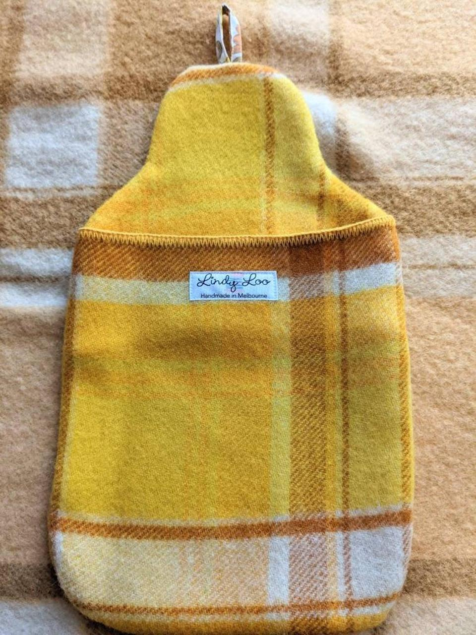<p>Each <span>Australian Wool Hot Water Bottle Cover</span> ($31) is made from an upcycled wool blanket. The seller offers them in six different plaid color options. </p>