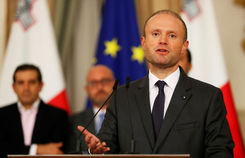 FILE PHOTO: Maltese Prime Minister Joseph Muscat addresses a press conference after an urgent Cabinet meeting at the Auberge de Castille in Valletta