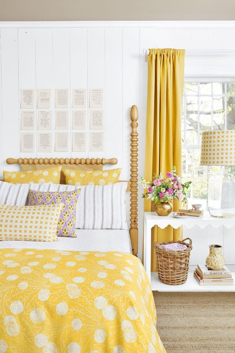 <p>Crisp white and cheery yellow tones unite in this bedroom—an instant mood-booster. </p>