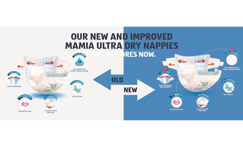 Nappy diagram shows how Aldi Mamia nappies have changed.