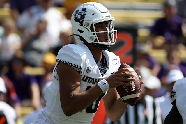 The Senior Bowl will be a big part of Utah State QB Jordan Love's process before the 2020 NFL draft. (Photo by Chris Graythen/Getty Images)
