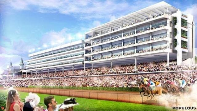 This artist rendering provided by Churchill Downs shows the infield view of a rooftop lounge and garden, top right, at Churchill Downs in Louisville, Ky. The racetrack announced plans on Wednesday, Sept. 19, 2018, for the $5 million expansion of the Starting Gate Suites. Construction of 20,000-square-foot rooftop garden is expected to begin after the Nov. 2-3 Breeders Cup World Championships and be completed prior to the 2019 Kentucky Derby. (Churchill Downs via AP)