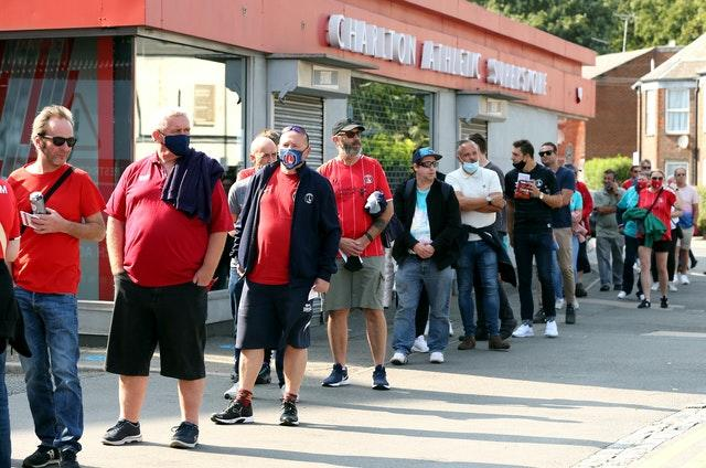 Supporters queued sensibly outside The Valley, where Charlton took on Doncaster