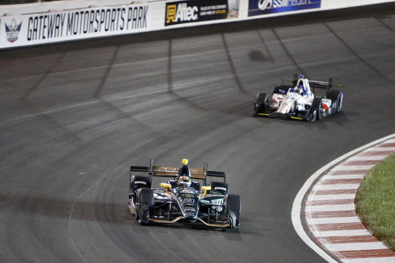 FILE - In this Aug. 26, 2017, file photo, JR Hilderbrand drives on the track during an IndyCar auto race at Gateway Motorsports Park in Madison, Ill. The track outside St. Louis that hosts IndyCar, NASCAR and NHRA events is getting not only a new name, but a promise to become a proving ground for tech innovations aimed at enhancing the fan experience. Gateway Motorsports Park in Madison, Illinois, will be renamed World Wide Technology Raceway at Gateway. Terms of the naming rights agreement announced Wednesday, April 17, 2019, were not disclosed. (AP Photo/Scott Kane, File)