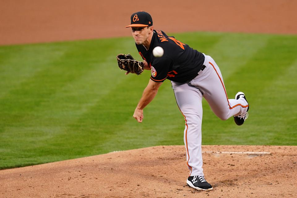 OAKLAND, CALIFORNIA - APRIL 30: John Means #47 of the Baltimore Orioles pitches during the first inning against the Oakland Athletics at RingCentral Coliseum on April 30, 2021 in Oakland, California. (Photo by Daniel Shirey/Getty Images)