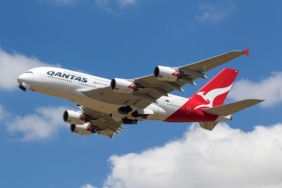Melbourne, Australia - November 19, 2012: Qantas Airways Airbus A380 registered VH-OQF takes off as QF93 to Los Angeles (LAX) from Melbourne International Airport at Tullamarine, Victoria.