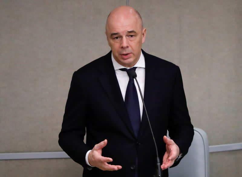 Russian Finance Minister Siluanov delivers a speech during a session of the lower house of parliament in Moscow