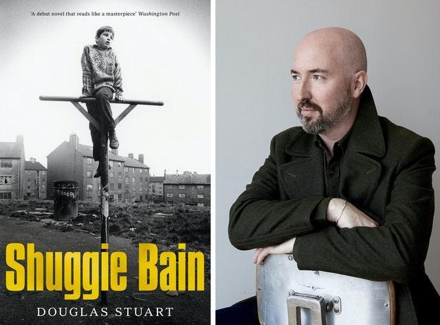 Douglas Stuart with the cover of his book