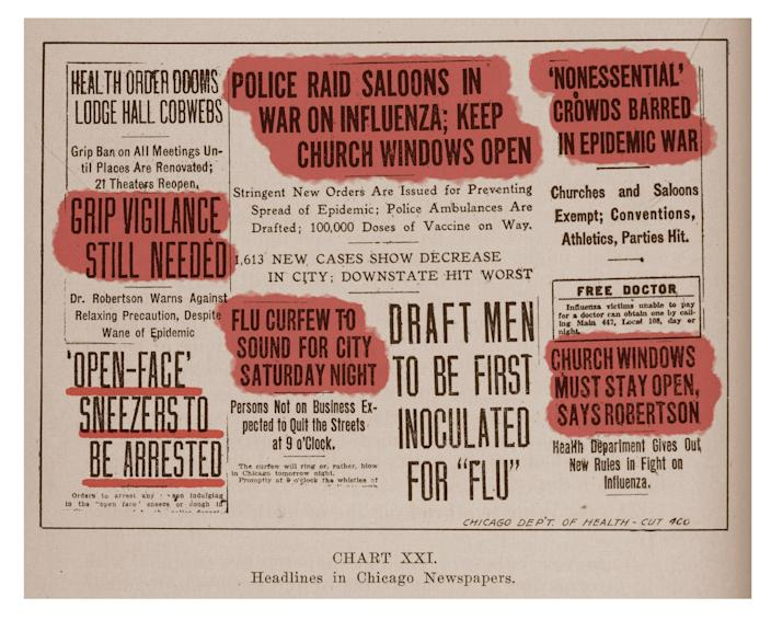 Newspaper headlines related to the Chicago influenza epidemic are included in a report written by Dr. John Dill Robertson, Commissioner of Health, published by the Department of Health in the fall of 1918. The report was part of an educational series.