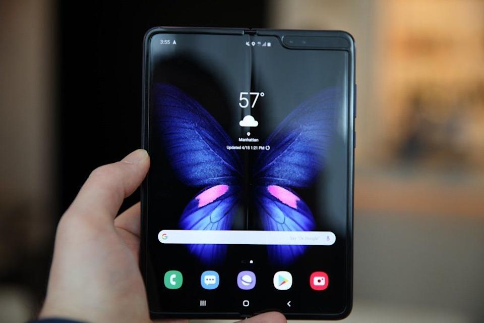 The Galaxy Fold's large 7.3-inch display folds in half when not in use. (Image: Daniel Howley)