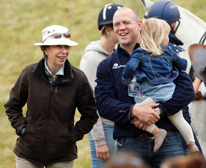TETBURY, UNITED KINGDOM - JUNE 19: (EMBARGOED FOR PUBLICATION IN UK NEWSPAPERS UNTIL 48 HOURS AFTER CREATE DATE AND TIME) Princess Anne, The Princess Royal, Mike Tindall and daughter Mia Tindall watch Zara Phillips play in a Jockeys vs Olympians charity polo match at the Beaufort Polo Club on June 19, 2016 in Tetbury, England. (Photo by Max Mumby/Indigo/Getty Images)