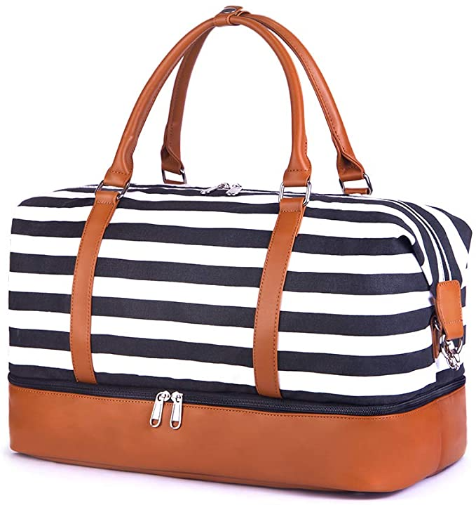 """<h2>Best Weekender Bag</h2><br><strong>Bodaon Overnight Travel Duffel Bag</strong><br>This stylish duffel promises it's roomy enough to fit four pairs of clothes, features three large and three small pockets, and includes a separated shoe compartment to keep the rest of your belonging fresh and clean.<br><br><strong>The Hype:</strong> 4.5 out of 5 stars; 699 reviews on <a href=""""https://amzn.to/35FSIdf"""" rel=""""nofollow noopener"""" target=""""_blank"""" data-ylk=""""slk:Amazon"""" class=""""link rapid-noclick-resp"""">Amazon</a> <br><br><strong>Luggage Lovers Say:</strong> """"Easy to handle and great """"packability""""! This is lightweight yet sturdy enough for camping and overnighters! I was looking for a great bottom I could wipe off so that it would not show dirt after being in a trunk or the floor. Also the separate compartment for shoes!! So sweet! Lots of stitching for durability. I will enjoy this bag for sure."""" — Jan T., Amazon Reviewer<br><br><strong>Bodaon</strong> Overnight Travel Duffel Bag, $, available at <a href=""""https://amzn.to/35FSIdf"""" rel=""""nofollow noopener"""" target=""""_blank"""" data-ylk=""""slk:Amazon"""" class=""""link rapid-noclick-resp"""">Amazon</a>"""