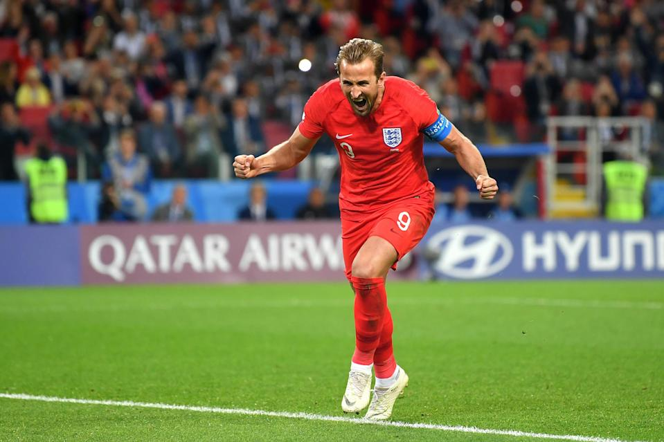 <p>GOAL!: Harry Kane scores from the penalty spot to give England a 1-0 lead just before the hour mark </p>