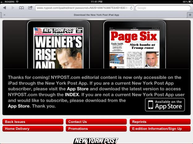 New York Post website no longer permits iOS Safari to access it
