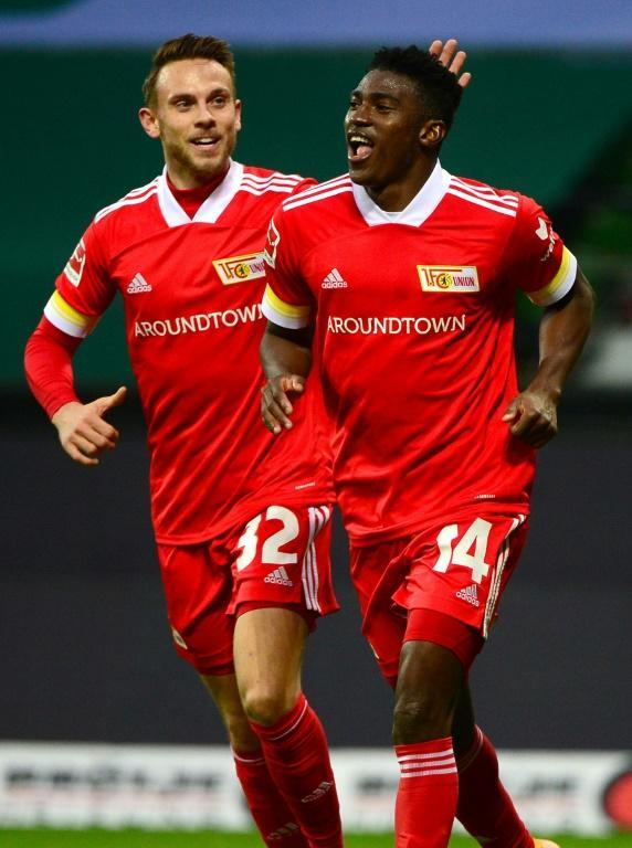 Union Berlin's Nigerian forward Taiwo Awoniyi celebrates his goal