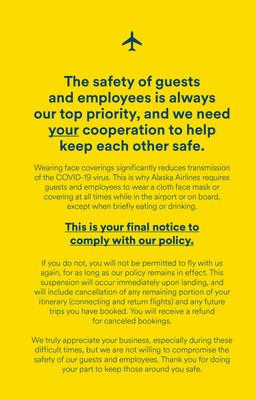 Alaska Airlines strengthens face covering policy Aug. 7: No mask, no travel, no exceptions.