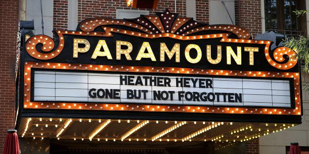 The Paramount Theater marquee bears to name of Heather Heyer, who was killed when a car slamed into a crowd of people protesting against a white supremacist rally, on the day of her memorial service August 16, 2017 in Charlottesville, Virginia. (PHOTO: Chip Somodevilla/Getty Images)