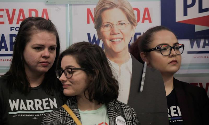 Supporters listen next to a cardboard cutout of Senator Elizabeth Warren during a 'Canvass Kickoff' event at Warren's campaign field office in North Las Vegas on Thursday.