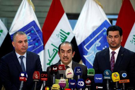 The head of Iraq's Independent Higher Election Commission Riyadh al-Badran speaks during a news conference in Baghdad