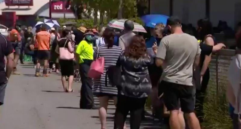 Thousands of Shepparton locals flocked to be tested after a truck driver brought the virus into their town. Source: Nine News
