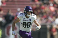 FILE - Northwestern wide receiver Bennett Skowronek (88) plays against Northwestern during the second half of an NCAA college football game on Saturday, Aug. 31, 2019, in Stanford, Calif. Skowronek caught 45 passes in back-to-back seasons for Northwestern in 2017 and 2018 before an injury caused him to play just two games last season. The graduate transfer brings experience to Notre Dame. (AP Photo/Tony Avelar, File)