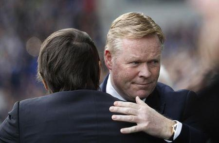 Chelsea manager Antonio Conte and Everton manager Ronald Koeman before the match