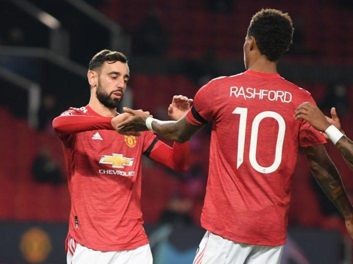 Rasford and Fernandes celebrate for Man United (Getty Images)