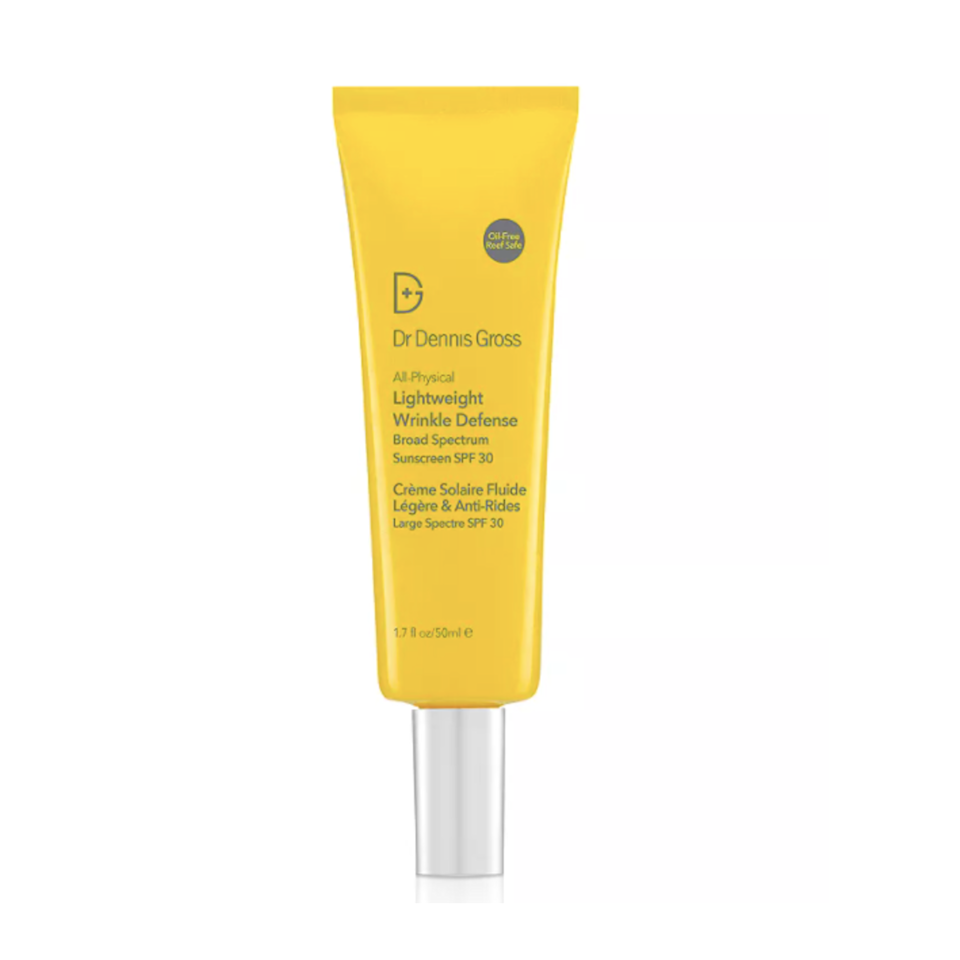"""Dr. Dennis Gross's All-Physical Lightweight Wrinkle Defense SPF 30 is a great choice for <a href=""""https://www.allure.com/gallery/best-sunscreen-for-sensitive-skin?mbid=synd_yahoo_rss"""" rel=""""nofollow noopener"""" target=""""_blank"""" data-ylk=""""slk:sensitive skin"""" class=""""link rapid-noclick-resp"""">sensitive skin</a> since the zinc oxide formula is oil-free, fragrance-free, and <a href=""""https://www.allure.com/gallery/coral-reef-safe-sunscreen-reviews?mbid=synd_yahoo_rss"""" rel=""""nofollow noopener"""" target=""""_blank"""" data-ylk=""""slk:reef-safe"""" class=""""link rapid-noclick-resp"""">reef-safe</a> — which means it contains nanoparticles that are larger than 30 nanometers and therefore <em>not</em> absorbed through the skin. What it <em>does</em> leave behind is a dewy finish on all skin tones. Nourishing ingredients like sea buckthorn and lingonberry (a cranberry-like plant that thrives in extreme conditions like the Arctic tundra) further prevent UV and free radical damage, so you've basically covered all of your bases."""