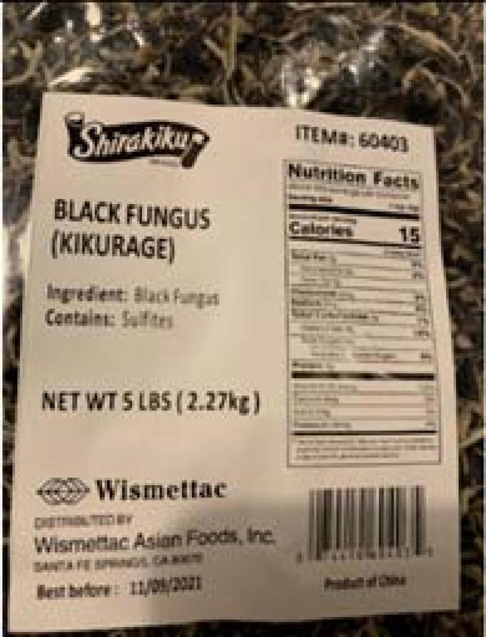 Wismettac Asian Foods recalled bags of dried fungus because the mushrooms could be linked to a salmonella outbreak.