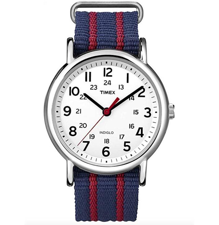 """<p><strong>Timex</strong></p><p>amazon.com</p><p><strong>$47.00</strong></p><p><a href=""""https://www.amazon.com/dp/B0070Y60K8?tag=syn-yahoo-20&ascsubtag=%5Bartid%7C10054.g.35351418%5Bsrc%7Cyahoo-us"""" rel=""""nofollow noopener"""" target=""""_blank"""" data-ylk=""""slk:Shop Now"""" class=""""link rapid-noclick-resp"""">Shop Now</a></p><p>Yes, one of the most iconic styles in Timex's extensive arsenal of hits still very much slaps todays. </p>"""
