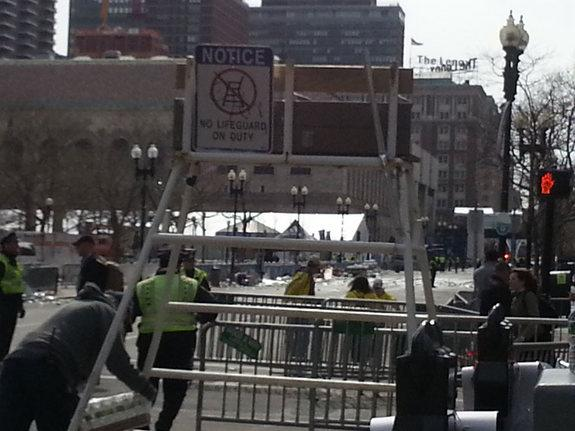 A view of Boylston in Boston, about a block from the finish line where the Boston Marathon bombings occurred on April 15. The photo was taken about a half-hour after the explosions.
