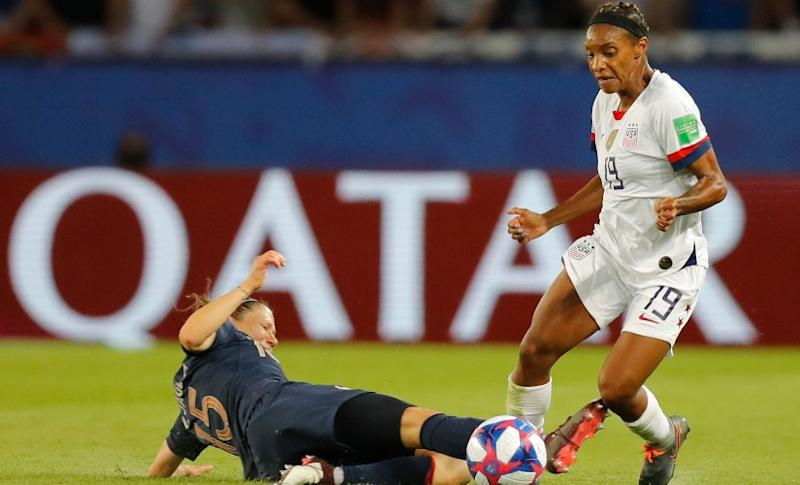 Crystal Dunn put in a great shift for USA against France in quarter-finals proving her switch to left-back position a huge success. AP