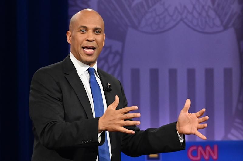 Democratic presidential hopeful New Jersey Senator Cory Booker gestures as he speaks during a town hall at The Novo in Los Angeles on Oct. 10, 2019. (Photo: Robyn Beck/AFP via Getty Images)